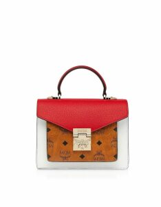 Mcm Small Visetos Leather Cognac/ruby Red Patricia Satchel Bag