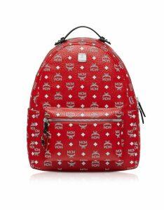 Mcm Viva Red Stark Backpack W/white Logo Visetos 40