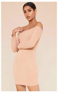 RECYCLED Pale Tan Bardot Bodycon Dress, Pale Tan