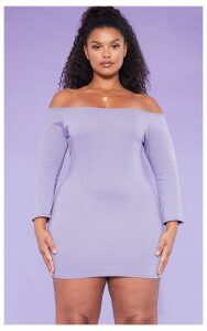 RECYCLED Plus Violet Bardot Bodycon Dress, Violet