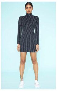 RECYCLED Black Pinstripe Roll Neck Long Sleeve Bodycon Dress, Black
