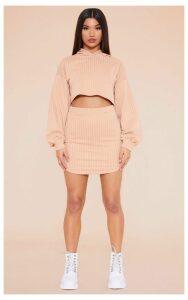 RECYCLED Pale Tan Pinstripe Sweat Bodycon Skirt, Pale Tan
