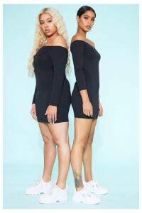 RECYCLED Bardot Bodycon Dress Black, Black