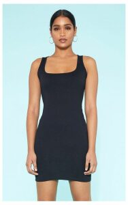 RECYCLED Black Square Neck Sleeveless Bodycon Dress, Black