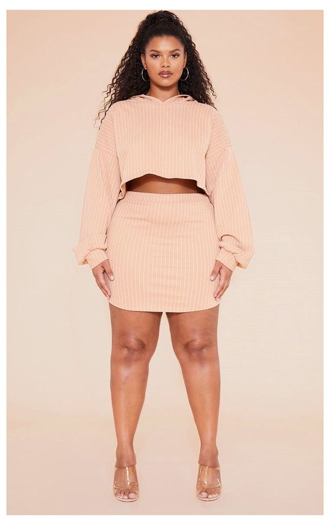 RECYCLED Plus Pale Tan Pinstripe Sweat Bodycon Skirt, Pale Tan