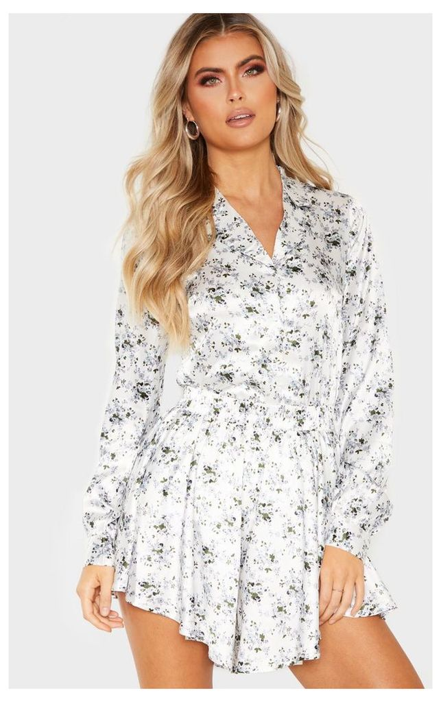 Tall White Floral Button Detail Fitted Shirt, White