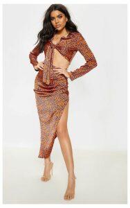 Orange Leopard Print Asymmetric Midi Skirt, Orange