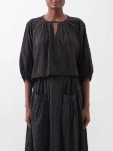 Dolce & Gabbana - Floral Puff Sleeve Broderie Anglaise Gown - Womens - White Multi