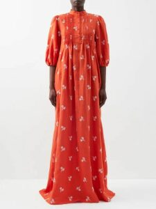 Aje - Astrid Neck Scarf Hammered Silk Blouse - Womens - Camel