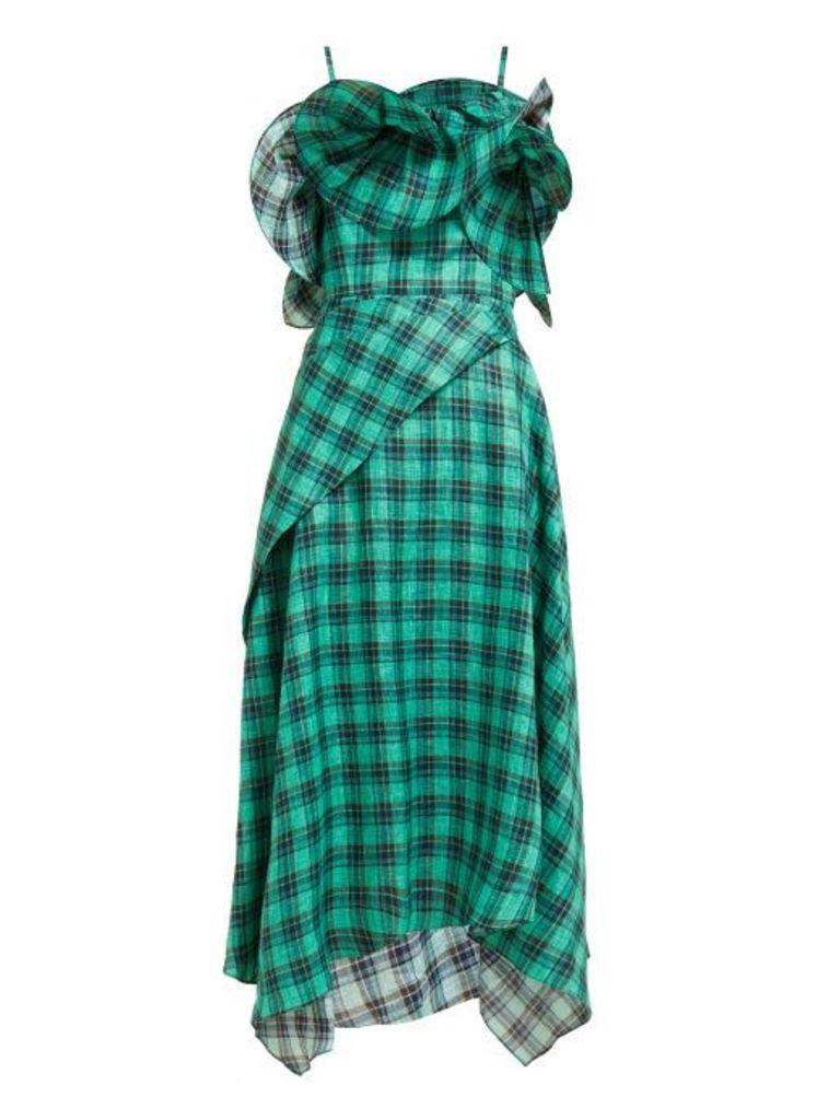 Osman - Julie Check Print Ruffle Bodice Linen Midi Dress - Womens - Green Multi