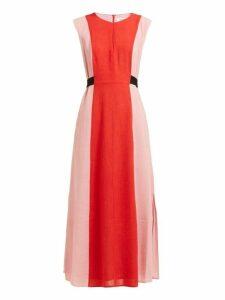 Cefinn - Contrast Panel Tie Waist Voile Dress - Womens - Pink Multi