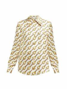 Gucci - Horsebit Print Silk Twill Blouse - Womens - Ivory Multi
