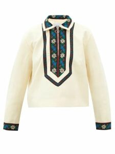 The Upside - Track Perforated Cropped T Shirt - Womens - Navy