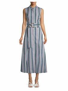 Stripe Belted Cotton Maxi Dress