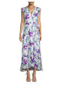 Floral Flutter-Sleeve Wrap Dress