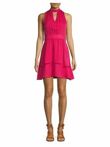Mockneck Silk A-Line Dress