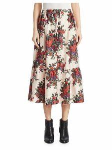 Silk Crepe Floral Ruffled Midi Skirt