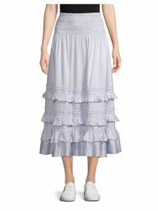 Ruffle-Tiered Cotton A-Line Skirt