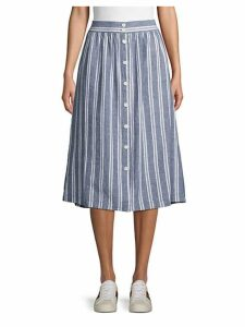 Stripe Linen & Cotton Blend Midi Skirt