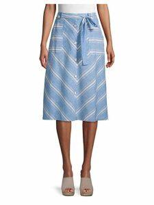 Buttoned Chevron-Striped Skirt