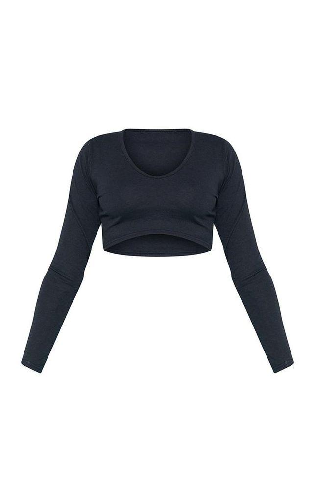 RECYCLED Black Plunge Long Sleeve Crop Top, Black