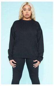 RECYCLED Plus Black Crew Neck Sweater, Black