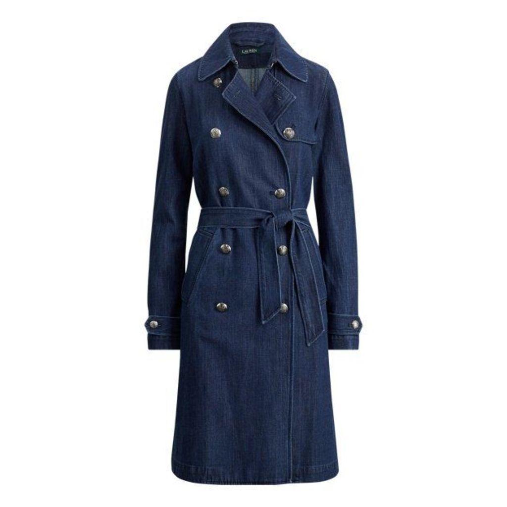 Belted Denim Trench Coat