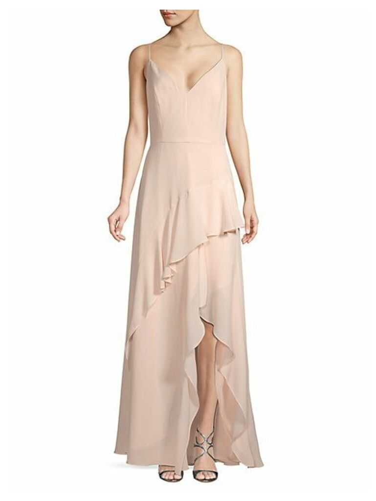 Ruffled High-Low Gown