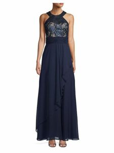 Lace-Bodice Halter Gown