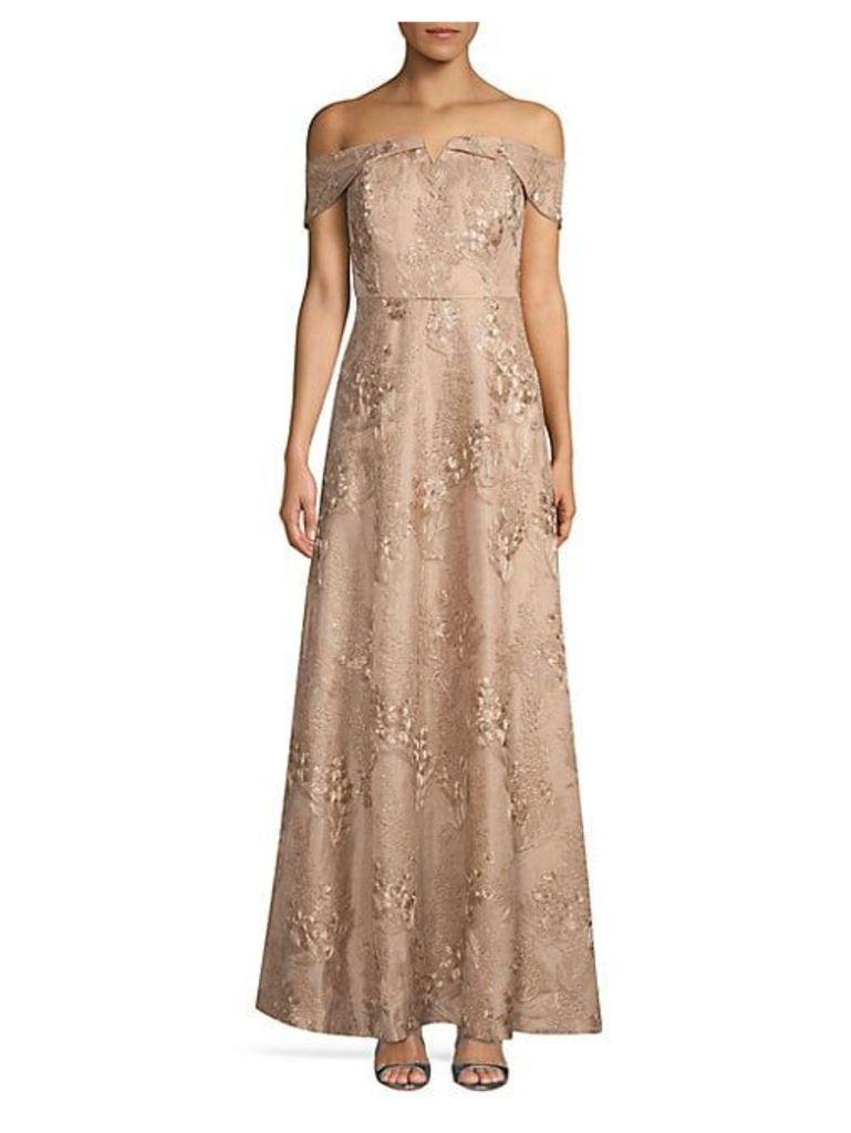 Floral Jacquard Off-The-Shoulder Gown