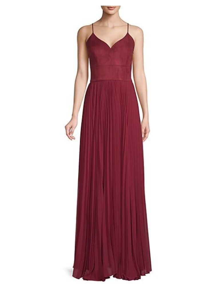 Faux Suede & Chiffon Bustier Gown