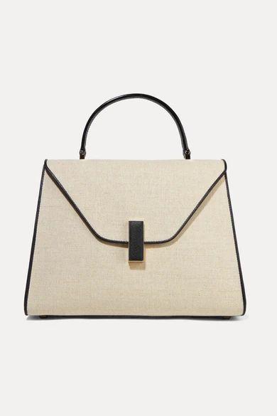 Valextra - Iside Large Linen And Textured-leather Shoulder Bag - Beige