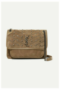 SAINT LAURENT - Niki Medium Embellished Suede Shoulder Bag - Beige