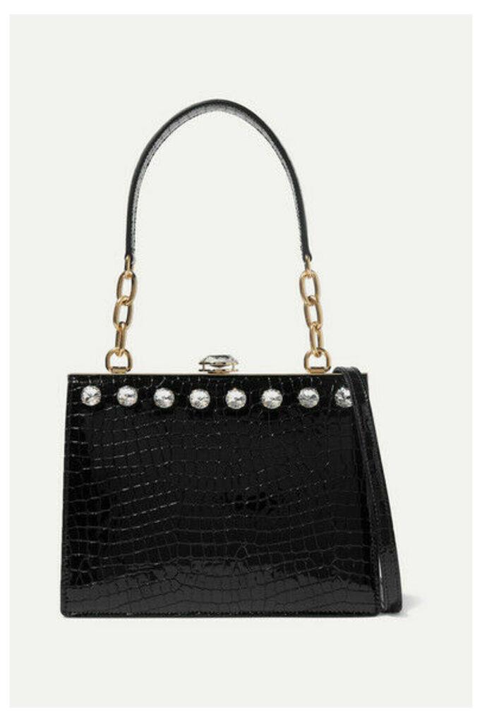 Miu Miu - Solitaire Crystal-embellished Patent Croc-effect Leather Shoulder Bag - Black