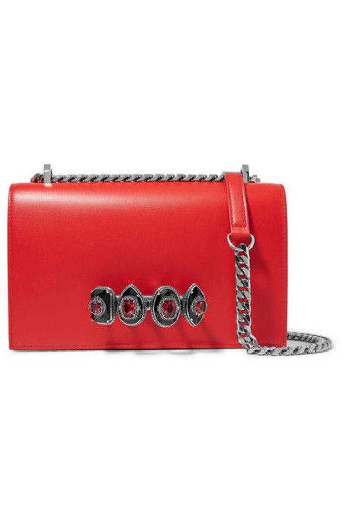 Alexander McQueen - Jewelled Satchel Embellished Leather Shoulder Bag - Red