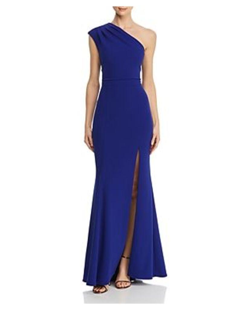 Aqua Pleated-Shoulder Gown - 100% Exclusive