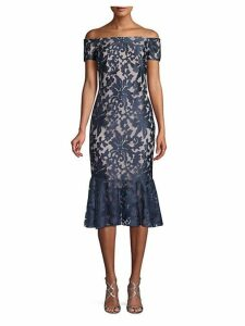 Off-the-Shoulder Floral Lace Dress