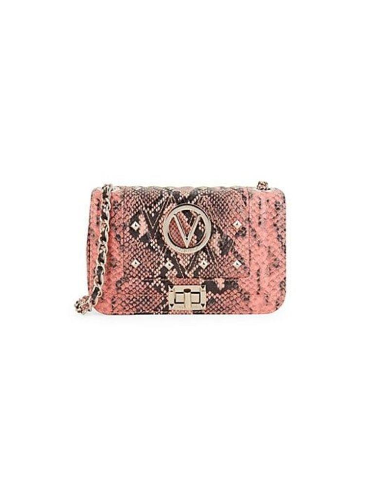 Beatriz Studded Python-Embossed Leather Crossbody Bag