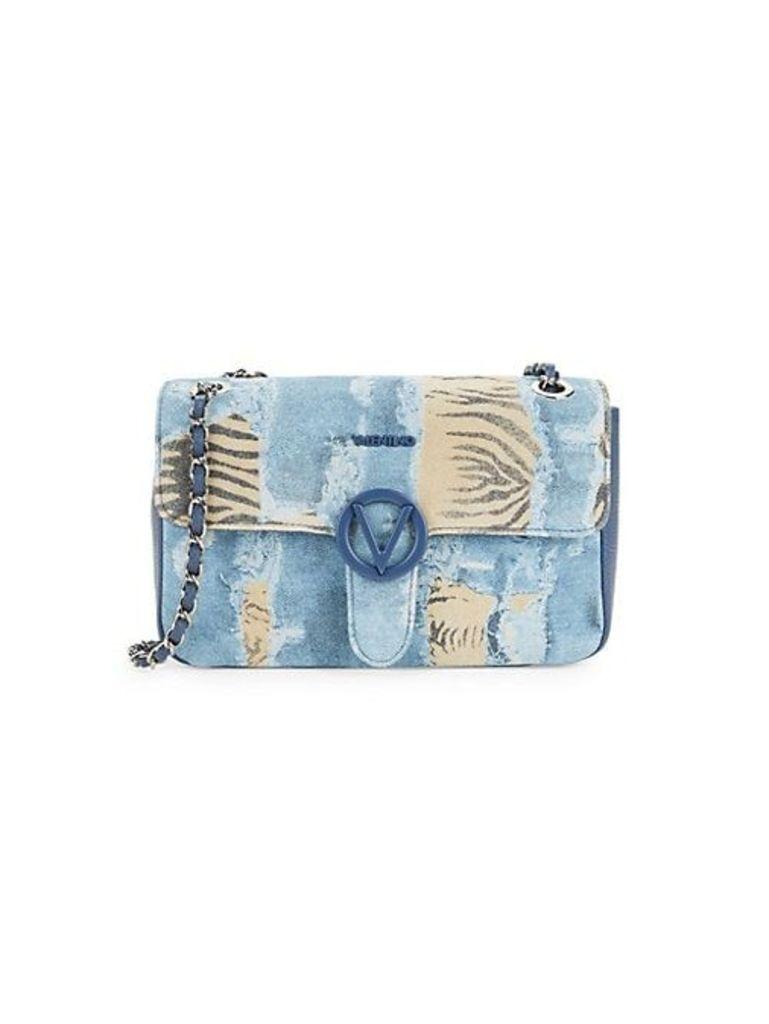 Antoinette Denim & Zebra Print Shoulder Bag