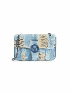 Antoinette Denim & Zebra Print Shoulder Bag