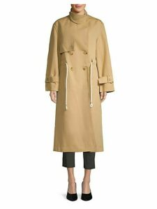 Drawstring Linen Blend Long Trench Coat