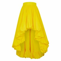 Alexandre Vauthier Yellow Pleated Faille Midi Skirt
