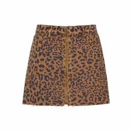 Free People Zip It Up Leopard-print Denim Mini Skirt