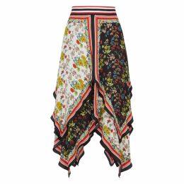 Alice + Olivia Maura Printed Asymmetric Satin Skirt
