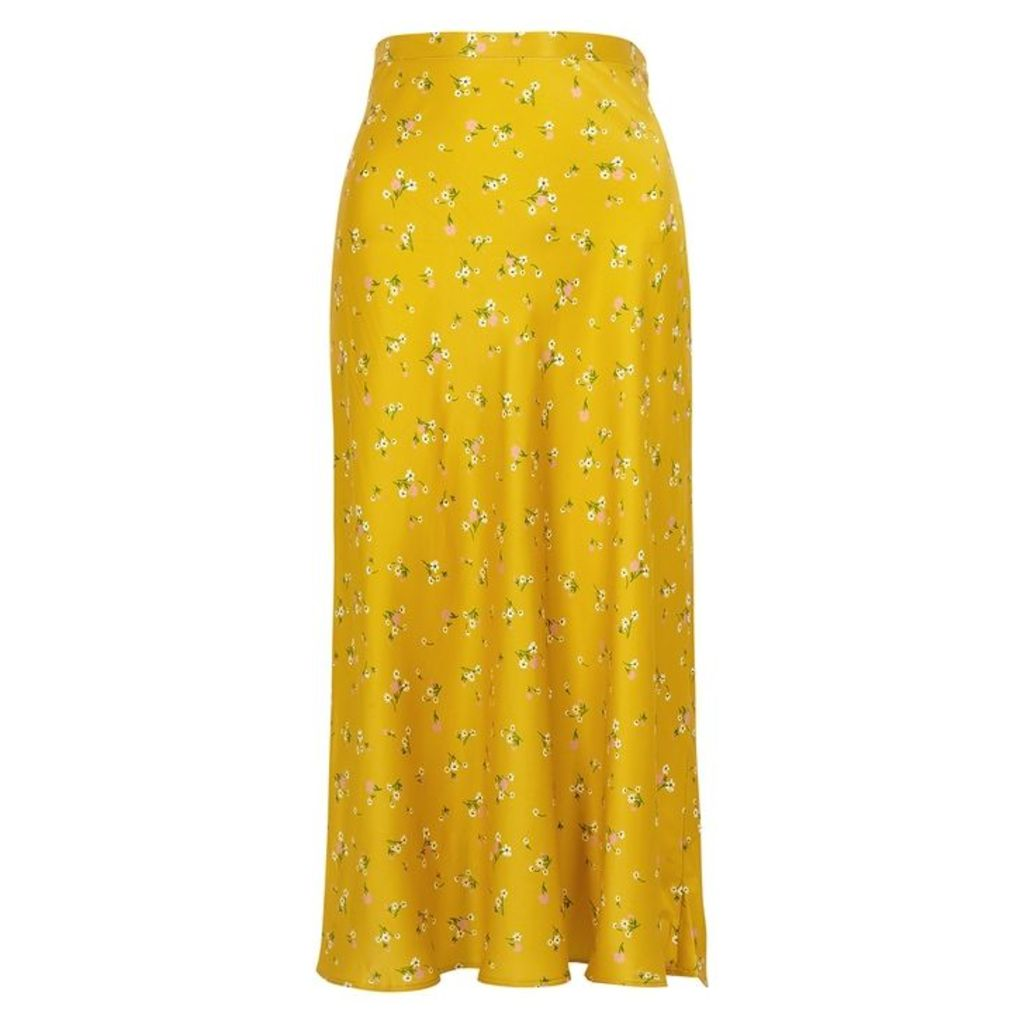 Bec & Bridge Only In Paris Yellow Silk Skirt