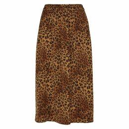 Gestuz Jane Leopard-print Satin Midi Skirt