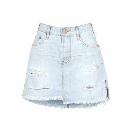 Oneteaspoon 2020 Distressed Denim Mini Skirt