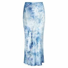 Collina Strada Yod Blue Tie-dye Velvet Midi Skirt