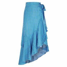 PAPER LONDON Lagos Gingham Silk Midi Skirt