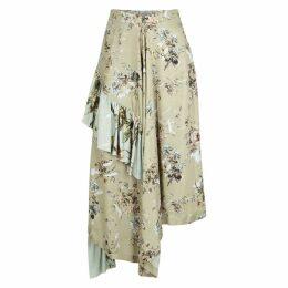 Preen By Thornton Bregazzi Carmella Floral-print Satin Midi Skirt